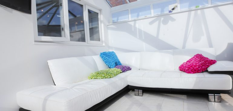 White Sofa in Conservatory