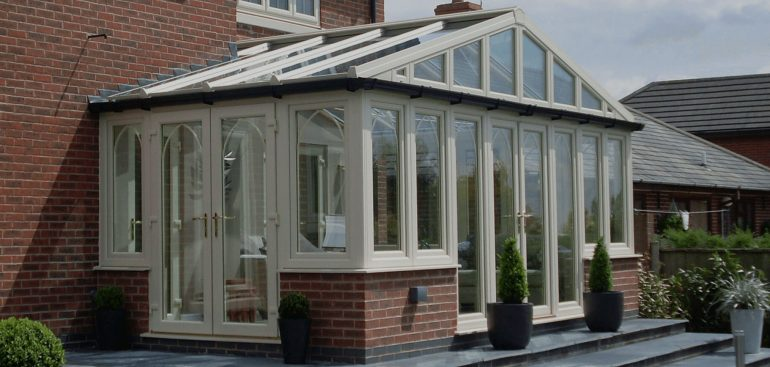 A UPVC white conservatory fitted by Northants Windows and Conservatories.